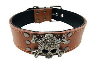 "Dog Puppy Collar  1.5"" wide  Skull Design  Heavy Duty  Brown  Small Medium Large"