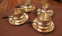 4 vintage silver plated copper bakelite tea cups saucer shot glasses mini cups