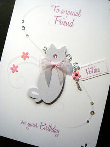 Hand-Made Personalised 'Cat Lover' Birthday Card