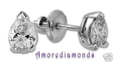 0.85 ct F SI1 natural pear hape diamond stud earrings 18k white gold screw backs