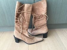 Zu Leather Boots in Tan Euede with Tie Details Size 5
