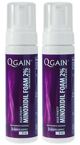 2 X Qgain MINOXIDIL FOAM 2% For WOMEN & MEN 6 month supply 2 X 180mL bottle
