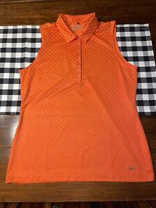 Womens Nike Tour Performance Dri-Fit Golf Shirt size Large Orange Polka Dots