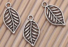200 PCS Tibetan silver Crafts Tree Leaves Jewelry Making Charms Pendants 19*10mm