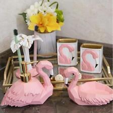 Flamingo Pink 5pcs Bathroom Accessory Set Soap Dispenser Dish Toothbrush Holder