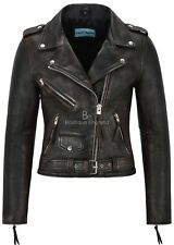 New Ladies Real Leather Jacket Black Bronze Napa Biker Motorcycle Style MBF