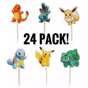 NEW 24pcs Pikachu Pokémon Cake Toppers Decorations Pikachu Cupcake Cake Toppers