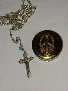 Vintage Creed Sterling Silver Cross Rosary Beads Necklace INRI Jesus Christian