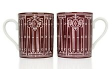 Hermes H Deco Mugs Rouge with White Porcelain Set of 4 new