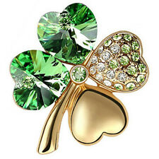 Elegant Gold & Green 4 Leaf-Clover Jewellery Brooch Pin BR248