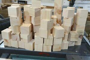 50 x Wooden 44mm Square Cube Blocks Crafts Bundle Natural Eco Bricks Pine Wood