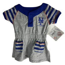 MLB New York Mets Baseball Girls Striped Gray Dress Infant Size 12M