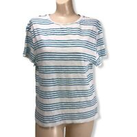 Pendelton Womens Long Sleeve Size Small (S) Shirt Top Classic Blue White Tee