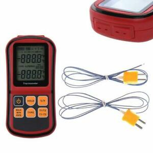 Digital Thermocouple Thermometer Dual Channel Temperature Meter Tester Handheld