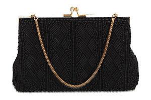 A vintage black & gold beaded evening bag Diamond pattern