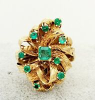 18K Gold Columbian Emerald Ring- .80tcw- Statement Ring- Genuine- Vintage-Estate