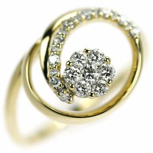 K18YG Diamond Ring D0.33ct - Auth SELBY_JAPAN