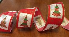 French Wire Edged Ribbon Red & Gold Christmas Trees Wreath~Gift~Bow