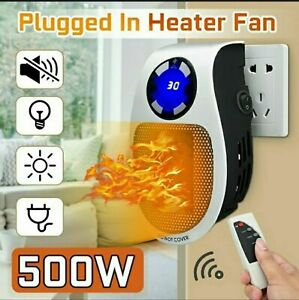 2021 500W Ceramic Plug In Heater Fast Room Wall Outlet Indoor Quiet Portable