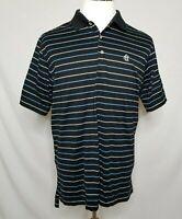 Peter Millar Mens Large Polo Shirt Cotton Black Blue White Striped Golf