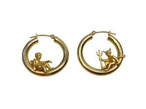 Peter Brams Design PBD 14K Gold Devil Angel Hoop Earings Rare Cherub 4 Grams