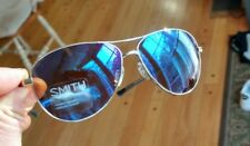 SMITH LANGLEY Sunglasses  Silver Frame with Carbonic Blue Flash Mirror Lenses