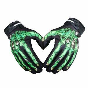 Men Cycling Bike Motorcycle Skull Bone Skeleton Goth Full Finger Gloves Outdoors