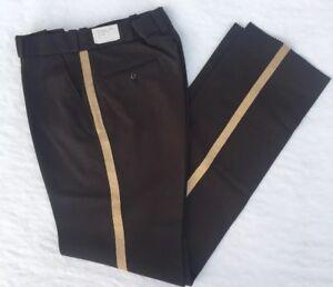 Fechheimer Police State Trooper Uniform Pant Dark Brown Gold Stripe Pants