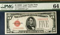 1928D $5 PMG64 CHOICE UNCIRCULATED US LEGAL TENDER NOTE JULIAN/VINSON RED SEAL