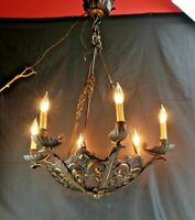 Antique Architecture Hanging Six Light Candelabra Chandelier Tudor Polychrome
