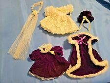 Teddy Bear/Doll Clothes by Unipak Wedding Dress & veil, Velvet Dress, Cape & Cap