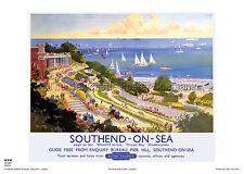SOUTHEND ON SEA ESSEX RETRO POSTER VINTAGE RAILWAY TRAVEL ADVERTISING ART