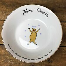 Merry Brite Reindeer Cereal/Soup Bowl with holiday message