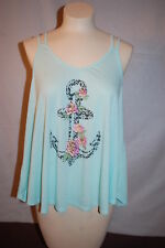6657217574519 Womens Tank Top LIGHT AQUA TEAL Thin Straps ANCHOR PINK ORANGE ROSES Cute M  8-