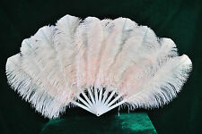 Blush Single layer Ostrich Feather Fan for pair set 2 fans Burlesque friend