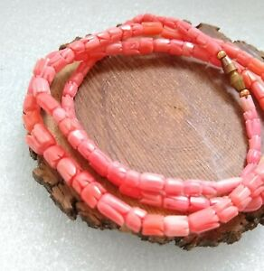"""Vintage Carved Natural Salmon Pink Angel Skin Coral Graduated Bead Necklace 23"""""""