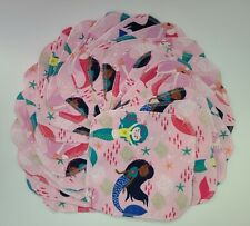 "Cloth Wipes 20 Baby Flannel 8""x8"" Girl Mermaids Starfish Blue Pink 1 or 2 Ply"