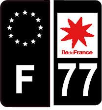 4 Autocollants 2 paires Stickers style Auto Plaque Black Edition noir F+ 77