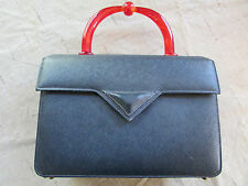 Vintage Milch Rare Designer Dark Blue Purse Hand Bag with Bakelite Handle