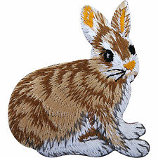 Rabbit Patch Bunny Iron On Badge Sew On Coat Bag Embroidered Pet Animal Applique