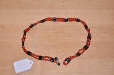 "Magic Magnetic Therapy Bead Wrap Necklace - Bracelet 38"" orange silver black"