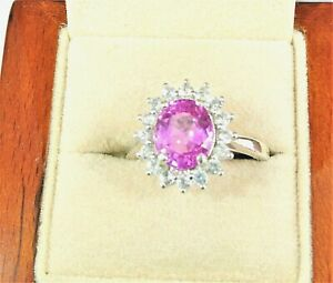 """""""WoW"""" PINK SAPPHIRE & WHITE TOPAZ IN RHODIUM OVER 925 STERLING SILVER RING SZ 7"""