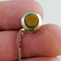 Gold Tone Round With Insert Tie Tack Clasp Pin With Chain