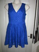 BNWT UK 14 £60 Lipsy Dress Royal Blue Lace Skater EU 42 Striped Sleeveless Party