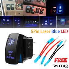 Burn Ya' Bastard 5-Pin ON/OFF Blue LED Indicator Rocker Switch For Fog Light 12V