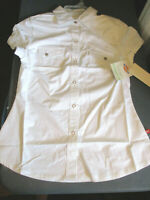 NWT DICKIES WOMENS COTTON SHORT SLEEVE SNAP WESTERN SHIRT BLOUSE WHITE XS X-SM