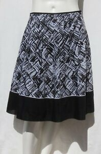$119 TALBOTS Petites Black White Print Gauzy Cotton Silk Pleated A Line Skirt 6P