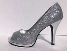 Rampage Gracee Silver Glitter Peep Toe Stiletto Platform Shoes Size 9.5 Heels