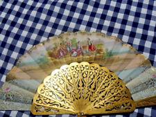 rare éventail fin18eme peint*gouache  boite d'origine*signe fortuné*