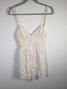 Zimmermann womens silk cotton white floral playsuit romper size S short sleeve
